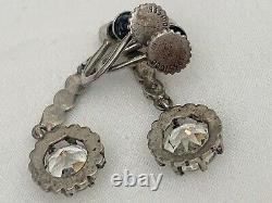 Vintage Antique Art Deco Edwardian Sterling Crystal Paste Glass Earrings