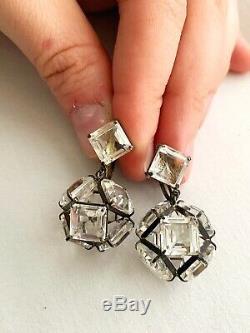 Vintage Antique Art Deco Globe Rock Crystal Sterling Open Back Drop Earrings