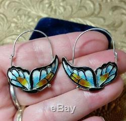 Vintage Antique Chinese Fine Sterling Silver Enamel Butterfly Hook Earrings