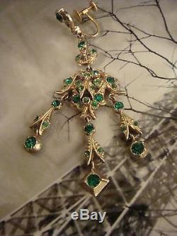 Vintage Antique Emerald Green Paste Chandelier Sterling Earrings & 10K Earrings