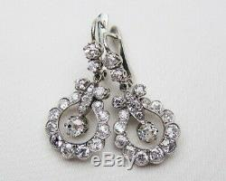 Vintage Antique Fine Engagement Earrings 925 Sterling Silver 2.5Ct Round Diamond