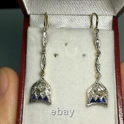 Vintage & Antique Retro Drop Dangle Earrings 925 Sterling Silver 1.47 Ct Diamond