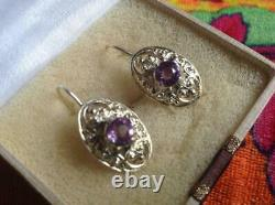 Vintage Antique Soviet USSR Russian Earrings Alexandrite Sterling Silver 875