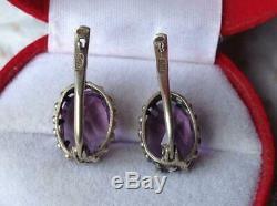Vintage Antique Soviet USSR Russian Earrings Purple Stone Sterling Silver 875