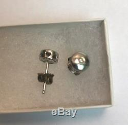 Vintage Antique Sterling Silver & Diamond Post Earrings Ringed by Hearts Charity