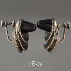 Vintage, Antonio Pineda, Sterling Silver & Black Onyx, Earrings Taxco, Mexico