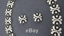 Vintage Arne Nordlie Sterling Silver 925s Enamel Necklace With 2 Earrings Norway