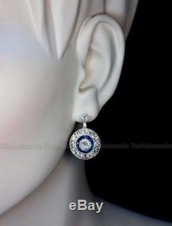 Vintage Art Deco 0.8 Ct Off White Round Moissanite Sterling Silver Halo Earring