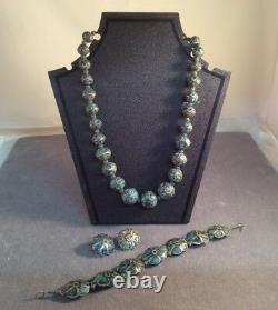 Vintage Art Deco 1920s Inlaid Turquoise & Sterling Necklace Bracelet Earrings