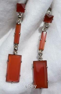 Vintage Art Deco CARNELIAN & Sterling Silver Dangle Earrings Germany