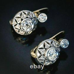 Vintage Art Deco Droped Filigree Iconic Earring 925 Sterling Silver 3 Ct Diamond