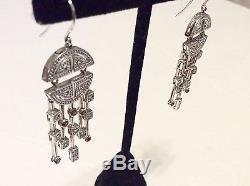 Vintage Art Deco Garnet Sterling Silver Drop Dangle Earrings Signed KL 925