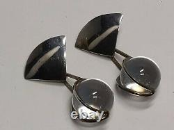 Vintage Art Deco Large 16mm Pools of Light Rock Crystal Sterling Dangle Earrings