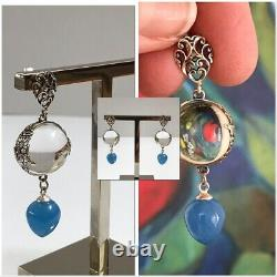 Vintage Art Deco Pools Of Light Crystal Chalcedony Sterling Pierced Earrings