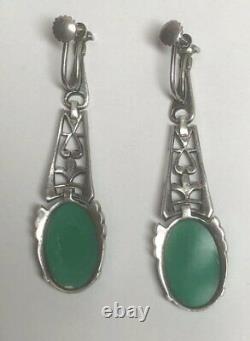 Vintage Art Deco Sterling Silver Chrysoprase Marcasite Screw Earrings Germany