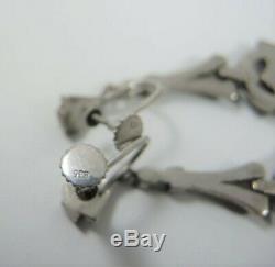Vintage Art Deco Sterling Silver Marcasite 5cm Drop Earrings Germany / Austria