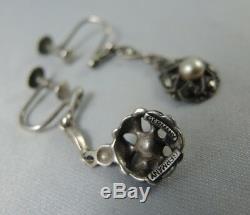 Vintage Art Deco Sterling Silver Marcasite Cultured Pearl Earrings Germany
