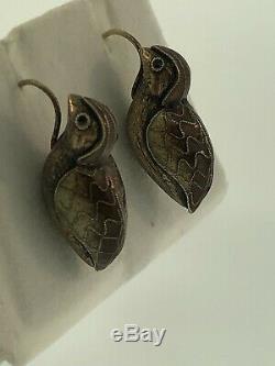Vintage Art Nouveau Sterling Silver Brown Enamel Cloisonne Bird Quail Earrings