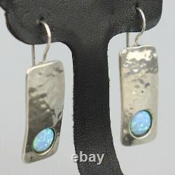Vintage Artisan Opal Earrings Hammered Sterling SIlver Handmade Southwest