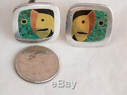 Vintage BETO Mexican Sterling Silver Brass Copper Stone PARROT CUFFLINKS Taxco