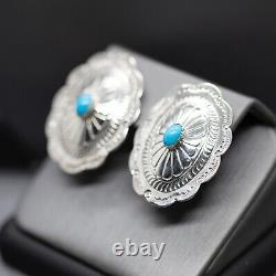 Vintage B F Zuni Turquoise Sterling Silver Bold Concho Earrings
