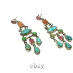 Vintage Barse Sterling Silver Multi Gemstone Chandelier Dangle Post Earrings