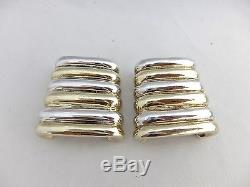 Vintage Bat Ami Sterling Silver Signed Israeli BIG Ribbed Earrings Clip-On 925