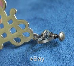 Vintage Big Celtic Knot LOS CASTILLO Mexico Sterling Silver Chandelier Earrings