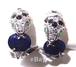 Vintage Blue Sapphire Sterling Silver Pave Snake Earrings Green Emerald 925 post