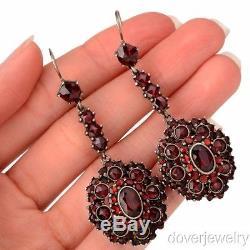 Vintage Bohemian Garnet Sterling Silver Drop Dangle Earrings 18.4 Grams NR