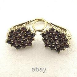 Vintage Bohemian Rose Cut Garnet Sterling Silver 14k Gold Wire Earrings. 0.1/2