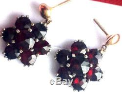 Vintage Bohemian rose cut garnet sterling silver 14k gold screw posts earrings