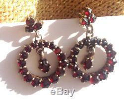 Vintage Bohemian rose cut garnet sterling silver screw posts drop earrings