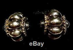 Vintage Bracelet & Earrings Menegatti Sterling Silver / YG / Black Onyx, Italian