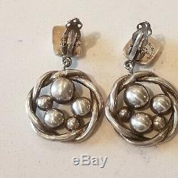 Vintage Brenda Schoenfeld Mexico Sterling Silver 925 Beaded Clip-On Earrings