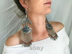 Vintage Bukhara Enamel Sterling Silver Earrings. Museum Quality