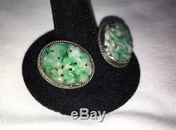 Vintage CHINESE Carved Apple Green Jade JADEITE Sterling Silver Clip On Earrings