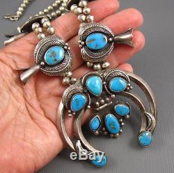 Vintage Carl Luthy Sterling Persian Turquoise Squash Blossom Necklace Earrings