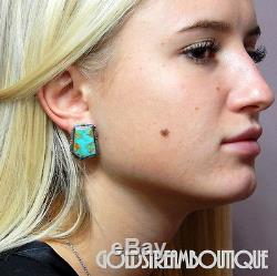 Vintage Carol Wylie Navajo Sterling Silver Gorgeous American Turquoise Earrings