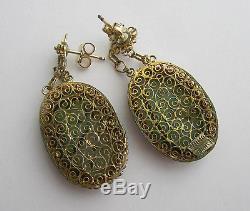 Vintage Carved Jade Filigree Sterling Silver Gold Wash Post Dangle Drop Earrings