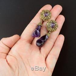 Vintage Chinese Export Amethyst Earrings Gold Wash Vermeil Sterling Silve Enamel