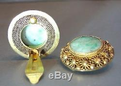 Vintage Chinese Export Gilt Silver Jade Jadeite Filigree Clip Earrings Sterling