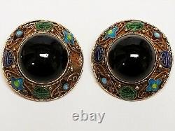 Vintage Chinese Export Gold Wash Sterling Onyx & Enamel Symbol Clip Earrings 1