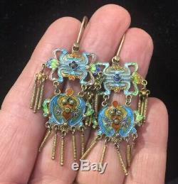 Vintage Chinese Gold Vermeil Sterling Silver Enamel Earrings Longevity & Bat