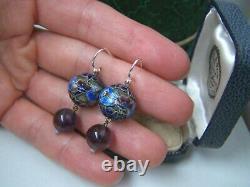 Vintage Chinese Solid Sterling Silver Amethyst Enamel Drop Dangle Earrings Hooks