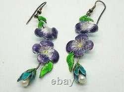 Vintage Chinese Sterling Silver Enamel Freshwater Pearl Earrings