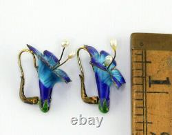 Vintage Chinese Sterling Silver Enamel Pearl Flower Earrings
