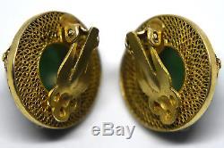 Vintage Chinese Sterling Silver Enamel and Jade Clip-On Earrings