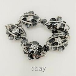 Vintage Coro 1940s Sterling Silver Rose Flower 925 Bracelet 7 and Earrings Set