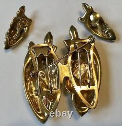 Vintage Coro Corocraft Sterling Silver Duette Horse Brooch Fur Clip & Earrings